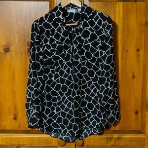 New York & Company Black And White Blouse Size M